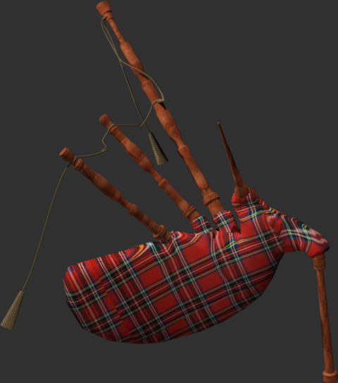 3D render of scotish bagpipe from vr experience highland
