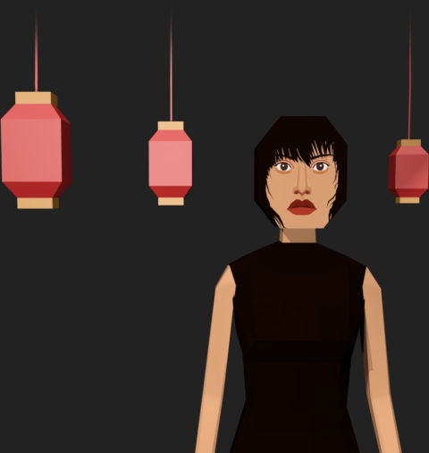 Project Hong Kong Hero image Featured 3D render of VR game Project Hong Kong showing girl with three red lanterns.