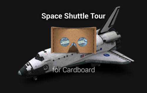 Space Shuttle Tour Cardboard promotional image with space shuttle on the background and google cardboard on the foreground.